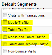 Mobile-related default segments in Google Analytics advanced segments