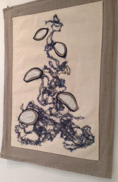 My public library is currently showing a lovely exhibit of fiber art celebrating, of all things, the science of wastewater treatment.
