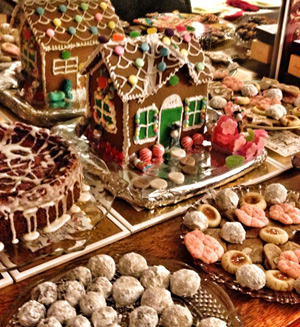 Gingerbread house and Christmas cookies